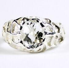 Silver Topaz, 925 Sterling Silver Men's Ring, SR168-Handmade