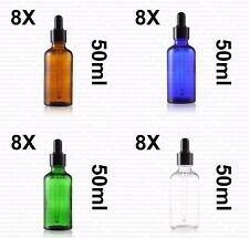 50ml Clear Amber Blue Green Glass Liquid Pipette Bottle Eye Dropper Aromatherapy