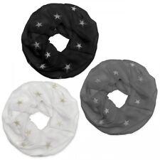 Halstuch mit Glitzersternen Loopschal Damen Winter Herbst grau weiß schwarz