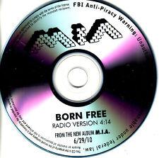 MIA Born Free RARE RADIO VERSION TST PRESS PROMO CD dj