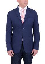Mens Modern Fit Navy Blue Herringbone Unstructured Cotton Field Jacket Sportcoat