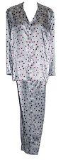 "Ladies Satin Pyjamas Silver with Black & Cerise Spots Sizes 46"" Bust 36"" Waist"