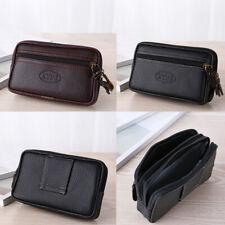 Men's Retro Solid Leather Messenger Bag Coin Bag Phone Bag Clutch Waist Bag