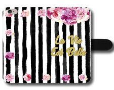 La Vie Est Belle cita Fancy peonías Flores Rosa Linda Cuero Funda Protectora De Teléfono