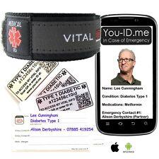 Type 1 Diabetic Medical Identity Bracelet Band SOS Alert ID Wristband SMS Phone