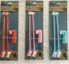 3PCS Cagnolino Cura Dentale Set Cane Gatto Cucciolo Denti Dente Spazzolino Igiene Pulizia Dito