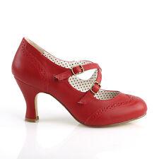 Red Vintage 1920s Flapper Girl Swing Dancing 1940s Costume Shoes Heels 7 8 9 10