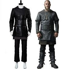 Vikings Ragnar Lothbrok Cosplay Costume Black Leather Suit Outfit Uniform Coat