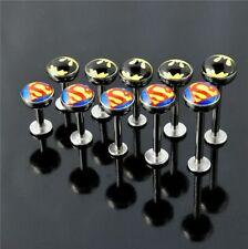 Batman Superman Surgical Steel Logo Labret Monroe Barbell Tragus Bar 14g