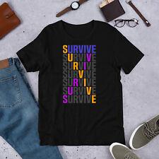 Bladder Cancer Awareness T-Shirt Survive Purple Blue Marigold Ribbon Support Tee