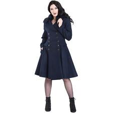 Hell Bunny Rockabilly Vintage Mantel Wintermantel - Milan Coat Dunkelblau