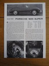 PORSCHE 356 1600 SUPER SPEEDSTER ROAD & TRACK OFFICIAL ROADTEST Brochure  jm