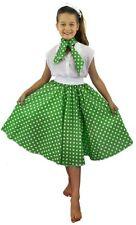 Ragazze 1950's Circle Gon na + Cravatta Lunga Green & White Spot Costume Danza