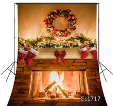 Warm Fireplace Christmas Wreath Socks Xmas Backdrop Studio Photo Background LB