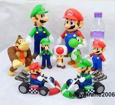 "Super Mario Brothers Cart Figures Mario Luigi Toad Yoshi Donkey Kong 5""- 9"""