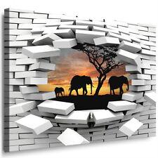 Leinwandbild Loch in der Wand Elefanten Afrika Wandillusion 3D Bild Wandbild 32