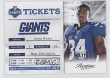 2012 Playoff Prestige NFL Draft Tickets The National 11 David Wilson Rookie Card