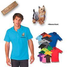 Camiseta De Algodón Polo Perro Bordado Sedoso Australiano Terrier+