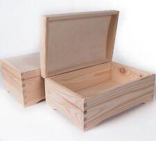 In legno Treasure Chest Storage Box con coperchio/Plain Pinewood/ricordo Bagagliaio