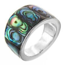 Paua Abalone Shell 925 Sterling Silver Band Ring