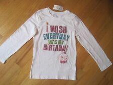 Girl I WISH EVERYDAY WAS MY BIRTHDAY GLITTER WHITE top shirt NWT 5 6 7 8