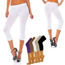 1 Paar 3/4 Caprihosen Leggings Capri Leggins 5 Trendfarben Singel-Jersey S/M-XXL