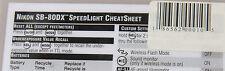 Nikon SB-80DX - Photo Bert Cheat Sheet - Laminated Reference Guide - NEW 2002