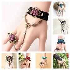 Black Bracelet Ring Wrist Wrap Victorian Goth Adjustable Handmade Lace Jewelry