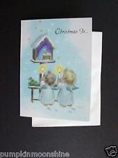 #E906- Vintage Unused Marjorie M. Cooper Xmas Greeting Card Angels & Nativity