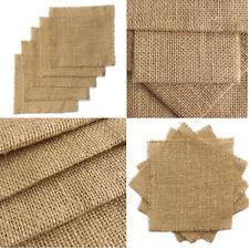 100% Natural Raw Hessian Jute Burlap Fabric Squares Pieces Craft Wedding Decor