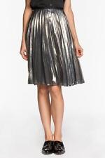 Rachel Roy Sunburst Skirt Metallic Silver Gold crisp pleats swirl lined Lame NEW