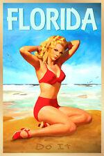 Florida Beach Poster Pin Up Atlantic Caribbean Gulf Tropical Sun Art Print 275