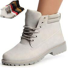 Damen Stiefeletten Worker Boots Schnür Booties Trendy