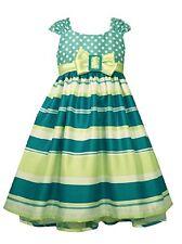 Bonnie Jean Girls Easter Spring Aqua Striped Shantung A-Line Dress 4 5 6 6X