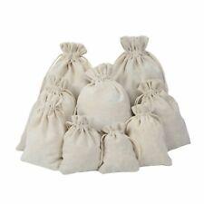 Cotton Linen Plain Drawstring Bags - Xmas Sack / Stocking - Storage/ Laundry Bag