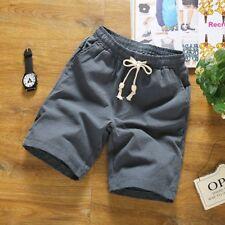 Men Shorts Cotton Linen Drawstring Beach Half Pants Soft Oversize Casual Fashion