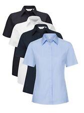 Damen Schwarz Weiß oder Blau Stretch Baumwollmischung Hemd mit Kurzen Ärmeln