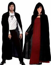 LADIES SATIN HOODED GENTS PARTY CLOAK FANCY CAPE BLACK HALLOWEEN ACCESSORY DRESS