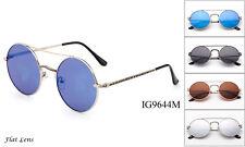 Round Metal Sunglasses Flat Lens Men Women Fashion Brand Designer Retro W/UV