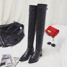 stivali coscia ginocchio donna nero tacco 5 cm eleganti simil pelle 9649