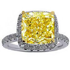 5.59 CARAT DIAMOND HALO ENGAGEMENT RING 18K WHITE GOLD RADIANT CANARY