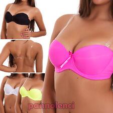 Reggiseno donna intimo lingerie basic bra bretelle trasparenti nuovo 8831-MOD