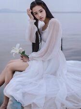 Women Victorian Gothic Vintage Dress Ruffle Lolita Elegant Fairy Chiffon White