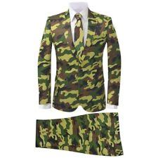 vidaXL 2tlg. Herrenanzug Business Hochzeit Krawatte Slim-Fit Camouflage Gr.46-56