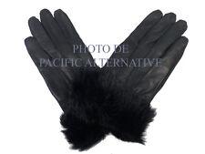 1 paire de Gants noir en cuir pour FEMME fille taille M fourré hiver gloves NEUF