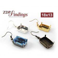 a588e76940a2 4pcs x Octagon 18x13mm Bezel Ear Wire Earrings fit Swarovski 4610 Crystal