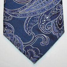 NEW City of London Silk Neck Tie Dark Blue with Purple and White Paisleys 852