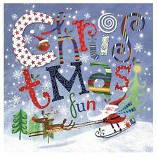 Santa Skiing | Reindeer Christmas 33cm Paper Party Napkins | Serviettes 1-120pk