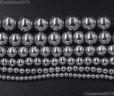 Natural Hematite Gemstone Round Ball Beads 16'' Silver 2mm 3mm 4mm 6mm 8mm 10mm