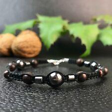 Bracelet Homme/Femme Macramé Shamballa  Hématite - Bois de Rose